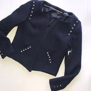 Dex  Navy Boucle Jacket with Studding Detail